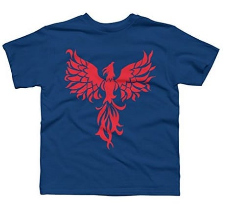 Abstract Red Phoenix Boy's X-Small Royal Youth Graphic T Shirt