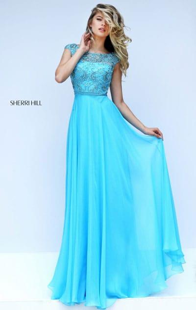 Gold Straight Neckline Beaded Patterned Sherri Hill 50305 Strapless Long Chiffon Prom Dresses 2016