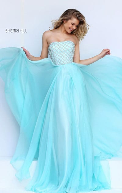 Sherri Hill 50039 Strapless Beaded Patterned 2016 Straight Neckline Light Blue Long Chiffon Evening Gown