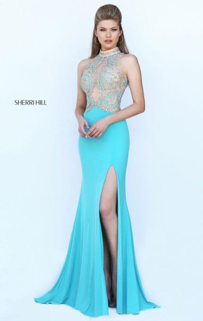 2017 High Neckline Beaded Patterned Aqua Cutout Sleeveless Sherri Hill 50428 Satin Long Slit Prom Dresses