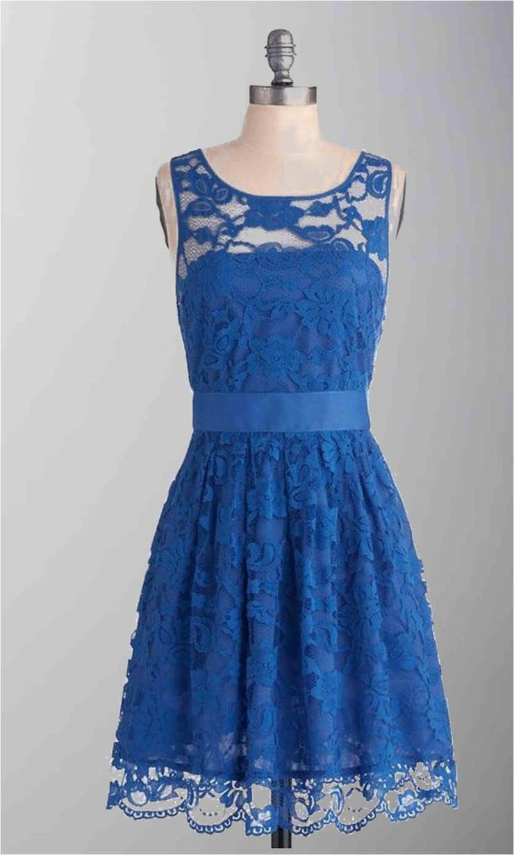 Blue Lace Short Bridesmaid Dress KSP287
