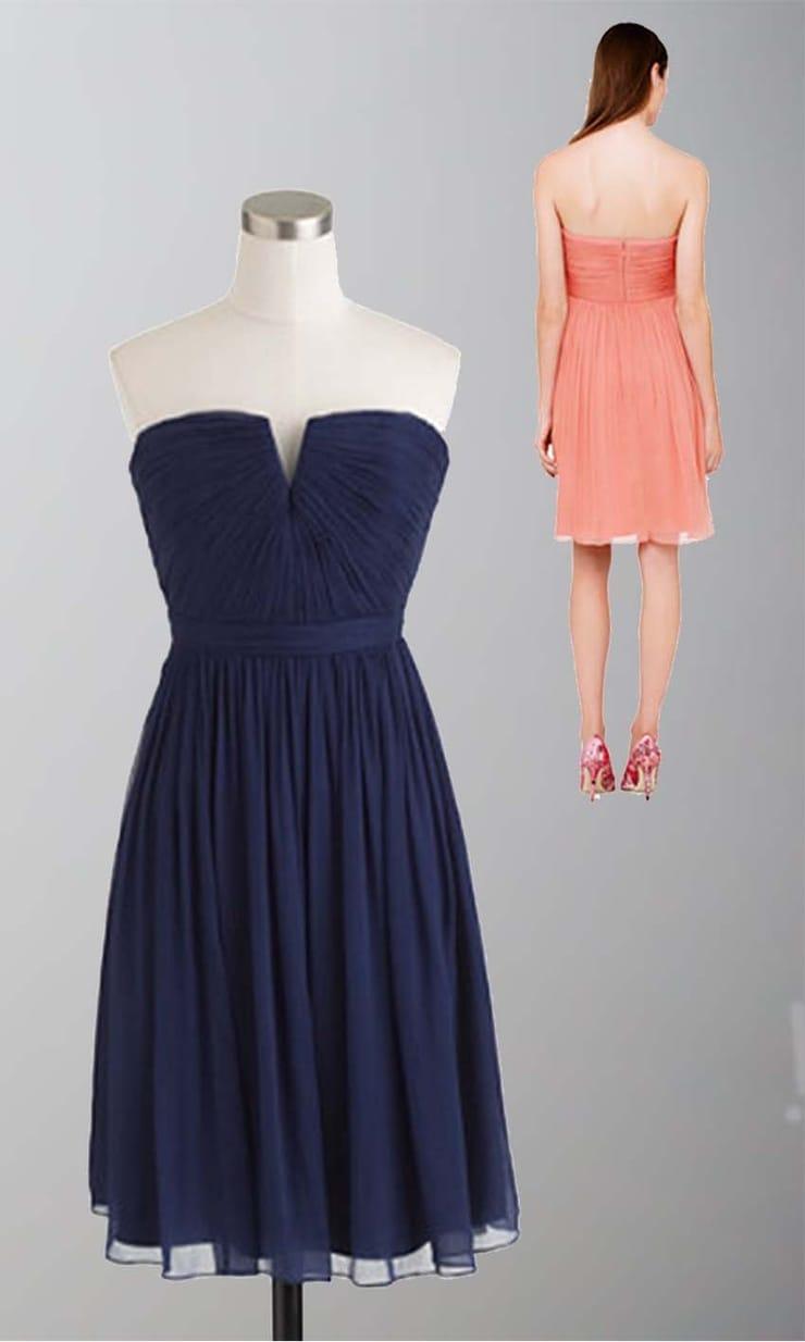 Blue Sweep V-Neck Short Blue Bridesmaid Dresses