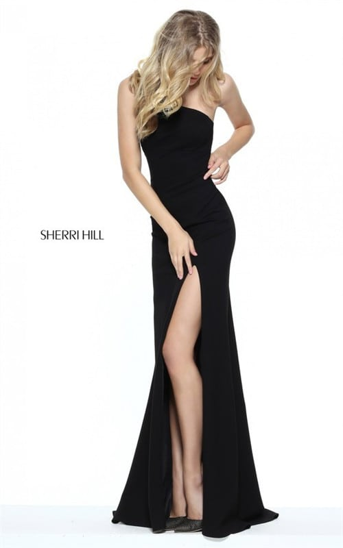 2017 Black High Slit Sherri Hill 50861 Cutout One Shoulder Evening Dress