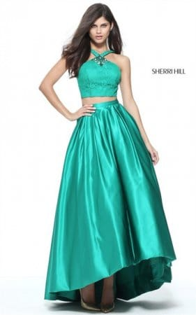 2-Piece Beading Sherri Hill 51162 Halter Emerald Hi-Low Long Dress 2017