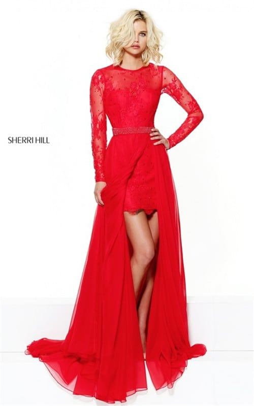 2017 Cutout Back Red Full Sleeves Chiffon Prom Dress By Sherri Hill 50949