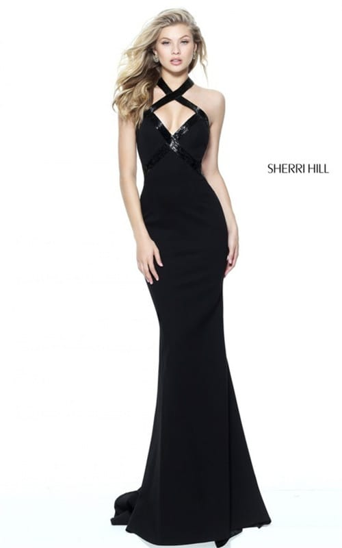 Sherri Hill Prom 2017 Halter Open Back Style 50865 Fitted Full Length Dress
