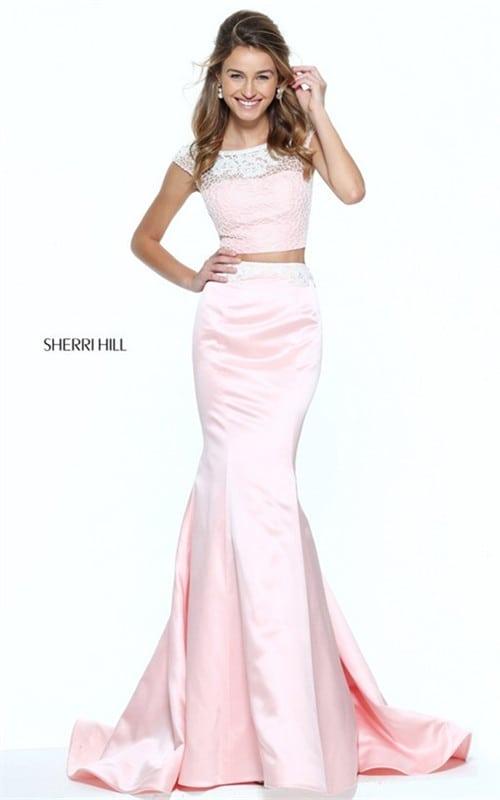 2017 Floral Lace Sherri Hill 50953 Two Piece Mermaid Gown With Beading