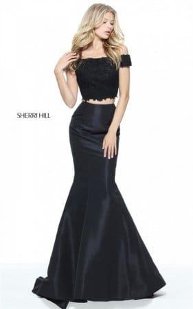 2017 Beaded Off Shoulder Sherri Hill 51157 Black 2-Piece Gown Mermaid
