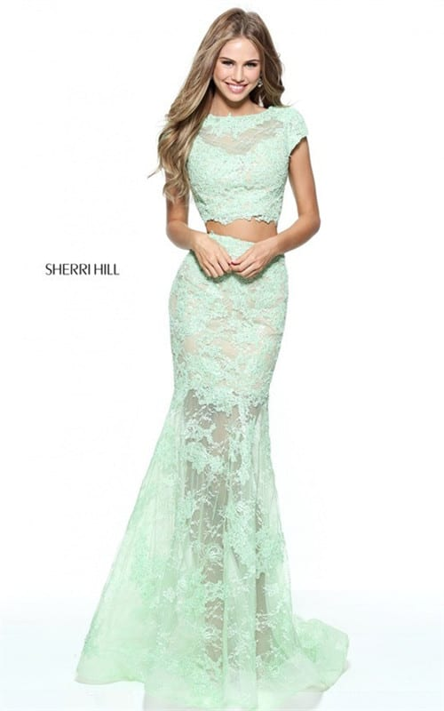 2017 Green Long Lace Appliqued 2-Piece Prom Dress By Sherri Hill 51013