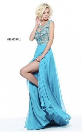 2017 Floral Appliqued Sherri Hill 50986 Turquoise Jeweled Slit Party Dress