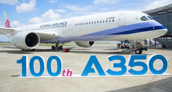 Airbus delivers its 100th A350 XWB to China Airlines