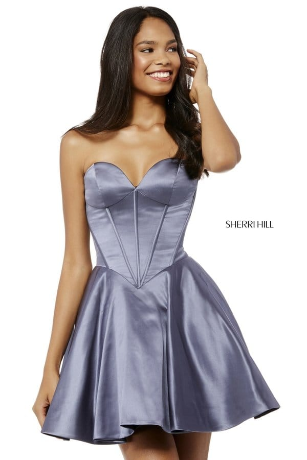 bb382b137d Picture of 2018 Sherri Hill Gunmetal Strapless Corset Short Satin Prom  Dresses 52197  Sherri Hill 52197 Gunmetal  -  200.00