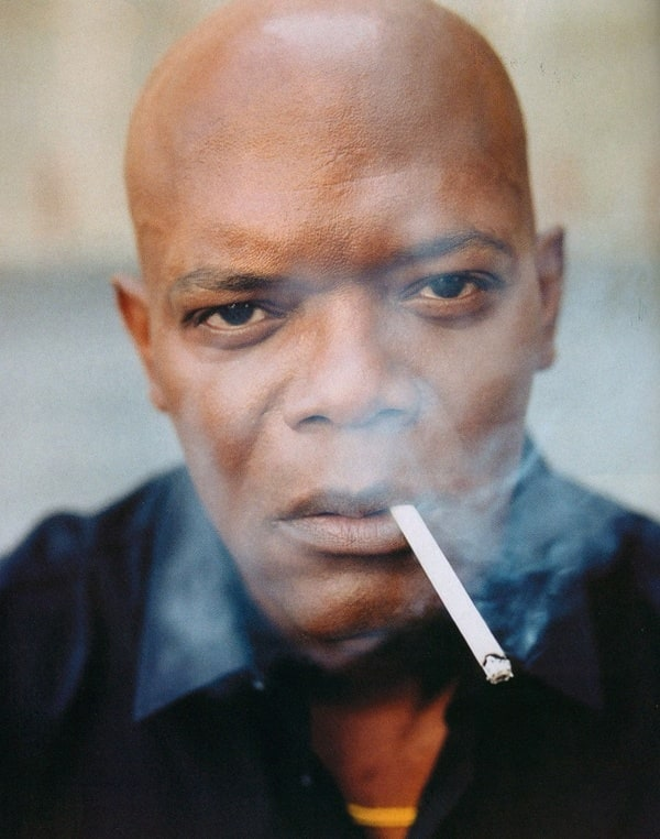 Samuel L. Jackson smoking a cigarette (or weed)