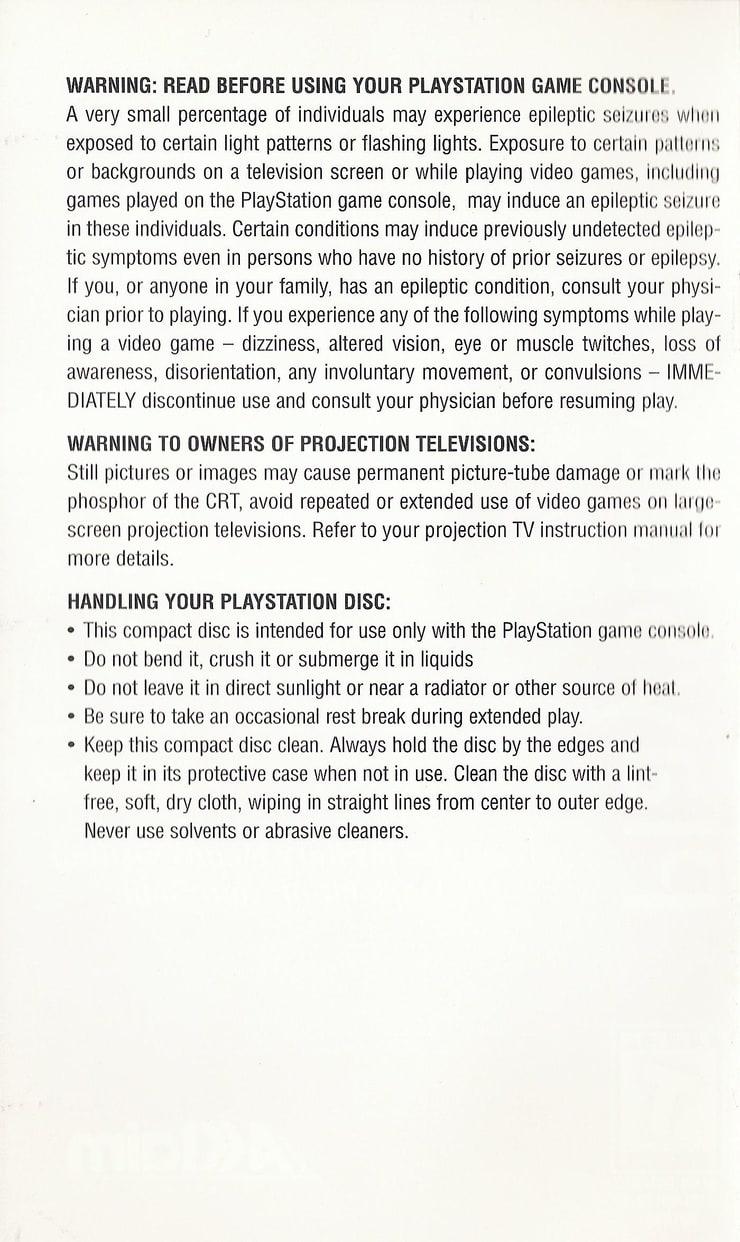 D (PS1) Game Manual