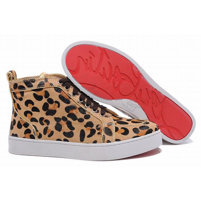 e22a39d806b Picture of Christian Louboutin Louis High Top Mens Sneakers Leopard ...
