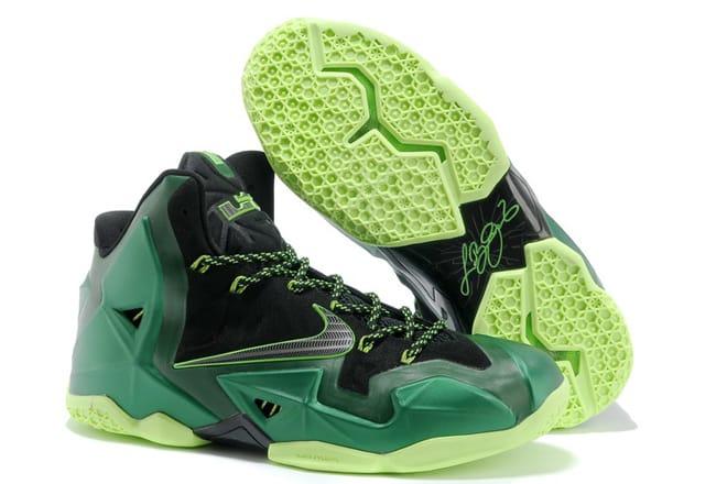 sale retailer e69b6 24517 Picture of Nike LeBron James XI 11 Mens NBA Shoes Black Green Volt Colorways