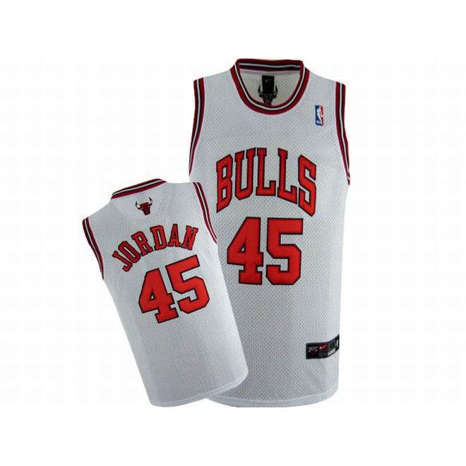 xunyfk Picture of Nike Jordan #45 NBA Bulls White Jersey Red Number