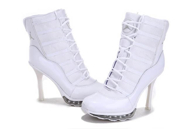 ca2f7c9b330 Picture of Nike Air Jordan 11 High Heels Boots All White Color For Ladies