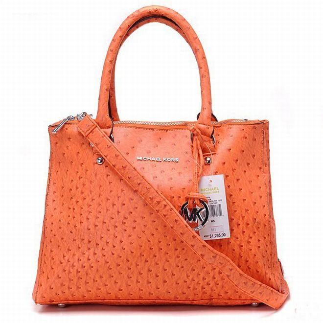 b082b0cfb14a Picture of Michael Kors Bedford Ostrich Tote Orange