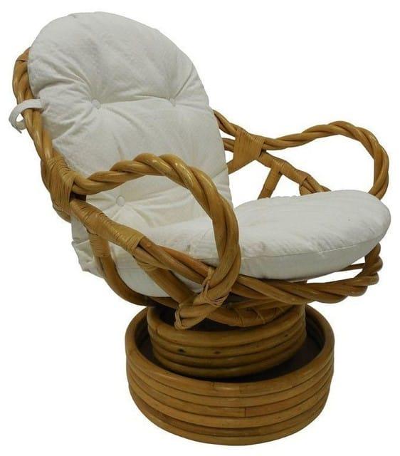 Vintage Bamboo Rattan Swivel Rocking Chair