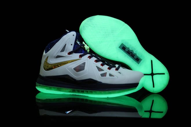 a745db82cae62 Picture of Air Max Glow In the Dark Lebron 10 White Navy Blue Gold Medal  Shoes Men
