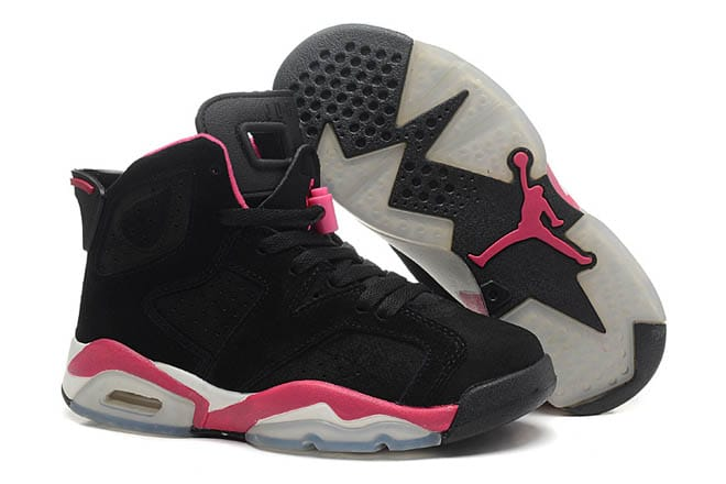 super popular 38e01 d18a3 Picture of Pink Black and White Color Air Jordan 6 VI Suede Lady Trainers