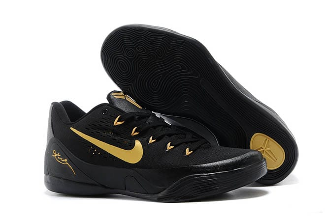 f70f2918b5be Picture of Nike Kobe Bryant Low Black Gold Basketball Shoes Kobe 9 Elite EM  - Men Size