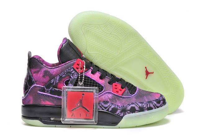 promo code ba64b bd34f Picture of Female Jordan Retro IV Pupple Black Galaxy Sports Sneakers Glow  in the Dark