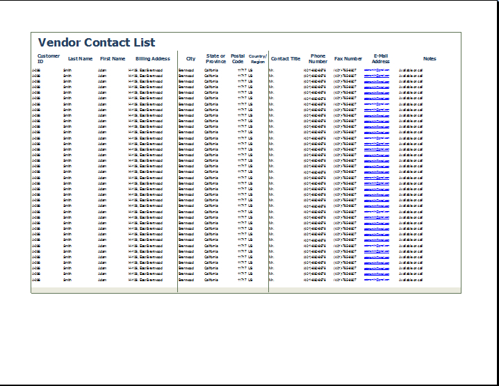 vendor contact list template