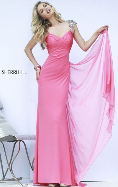 Picture of Coral Sweetheart-Neck 2015 Sherri Hill 11172 Chiffon